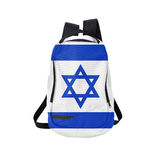 Sac à dos de drapeau de l'Israël d'isolement sur le blanc Image stock