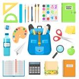 Sac à dos de sac d'école complètement d'illustration éducative de vecteur de sac à tirette stationnaire d'enfants d'approvisionne Photo stock