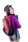 Sac à dos de transport à étudiant asiatique de lycée Images libres de droits