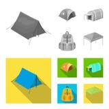 Sac à dos et d'autres genres de tentes Icônes réglées de collection de tente dans l'illustration monochrome et plate d'actions de illustration libre de droits