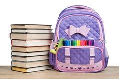 Sac à dos et livres d'école Photo stock