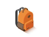 Sac à dos orange isométrique d'école de vecteur Photos libres de droits