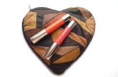 Sac à main de dames pour des cosmétiques et le lustre de lèvre Image libre de droits