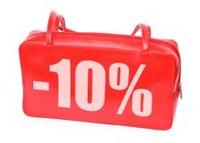 Sac à main en cuir rouge avec le signe -10% Image stock
