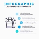 Sac, sac à main, Etats-Unis, ligne américaine icône avec le fond d'infographics de présentation de 5 étapes illustration stock