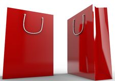 Sac à provisions rouge vide Photos libres de droits