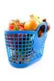 Sac à provisions en plastique bleu avec l'épicerie photo libre de droits