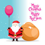 Sac à Santa Claus Holding Balloon And Big illustration stock