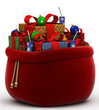 sac avec des cadeaux sur un fond blanc Images stock