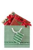 Sac avec deux cadeaux de Noël photos libres de droits