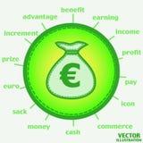 Sac avec l'euro icône Vecteur Photographie stock