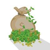 Sac avec le dollar d'argent Pièce de monnaie de Livre vert et de fer image libre de droits
