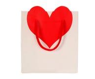 Sac blanc de cadeau de panier d'amour Images libres de droits