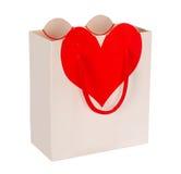 Sac blanc de cadeau de panier d'amour Photographie stock