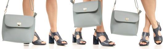 Sac bleu de bourse de femme de jambes de pieds de robe de chaussures noires réglées de bleu photographie stock libre de droits