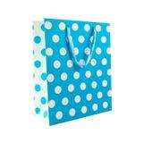 Sac bleu de cadeau de point de polka Images libres de droits