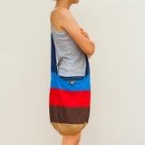 Sac coloré d'eco de lin textile Photos libres de droits
