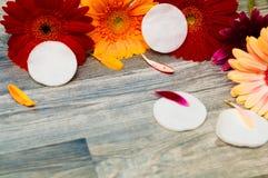Sac cosmétique, et produits de maquillage sur le fond en bois éponge, crème pour des soins de la peau photo stock
