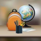 Sac d'école avec le globe illustration de vecteur