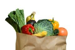 Sac d'épicerie de Brown avec des fruits et légumes Images libres de droits