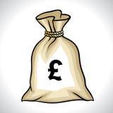 Sac d'argent avec l'illustration de vecteur de signe de livre Image libre de droits