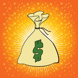 Sac d'argent avec l'illustration de vecteur de symbole dollar. Photos libres de droits