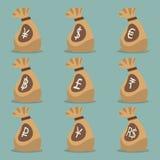 Sac d'argent avec le symbole monétaire de monnaie internationale Image stock