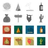 Sac d'argent, salle, foulard de cowboy, cactus Icônes réglées de collection d'ouest sauvage dans le symbole monochrome et plat de Photographie stock libre de droits
