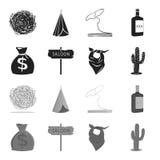 Sac d'argent, salle, foulard de cowboy, cactus Icônes réglées de collection d'ouest sauvage dans le symbole noir et monochrome de Image stock