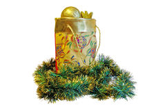 Sac d'or d'isolement à Noël Images stock
