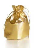 Sac d'or de cadeau photo libre de droits