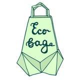 Sac d'Eco Panier d'origami avec un le tiré par la main Image stock