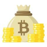 Sac de Bitcoin et d'icône plate de pièces de monnaie sur le blanc illustration stock