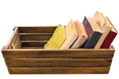 Sac de boîte, de livre, en bois de vintage de bagage et fleur sur le backgr blanc photos stock