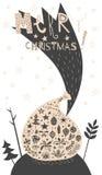 Sac de cadeau de Joyeux Noël avec la carte réglée d'icône Photo stock