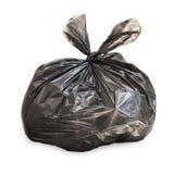Sac de déchets attaché par noir sur le blanc Photographie stock libre de droits