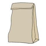Sac de déjeuner de papier de Brown Croquis tiré par la main Image stock