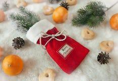Sac de fête de Noël avec des biscuits et des mandarines Photographie stock libre de droits