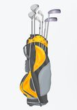 Sac de golf avec des clubs Photo stock