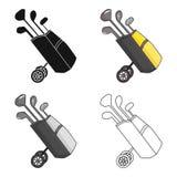 Sac de golf sur des roues avec l'icône de clubs dans le style de bande dessinée d'isolement sur le fond blanc Vecteur d'actions d illustration stock