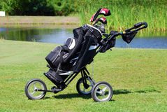 Sac de golf sur la zone Photographie stock