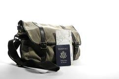 Sac de messager avec le passeport Images stock