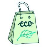 Sac de papier écologique avec des poignées blanc d'achats de vente de papier d'oncept d'isolement par sac Photo libre de droits