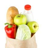 Sac de papier avec les légumes et la nourriture photographie stock