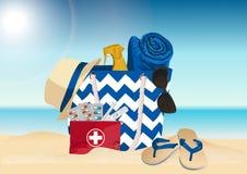 Sac de plage et trousse de premiers soins de route Accessoires d'été Illustration de vecteur photographie stock