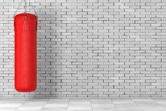 Sac de sable en cuir rouge pour la formation de boxe rendu 3d illustration stock