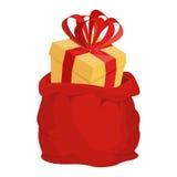 Sac de Santa avec le cadeau Grand sac rouge à Noël BOÎTE avec l'ARC illustration stock