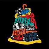 Sac de Santa de Noël typographique et de nouvelle année, cadeaux Joyeux XMa Illustration de Vecteur