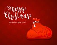 Sac de Santa sur le fond rouge illustration stock
