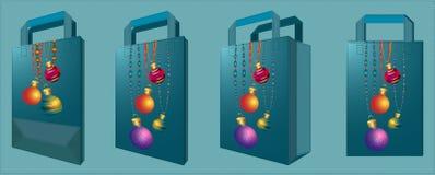 Sac de tissu de vecteur avec des boules de Noël Photos stock